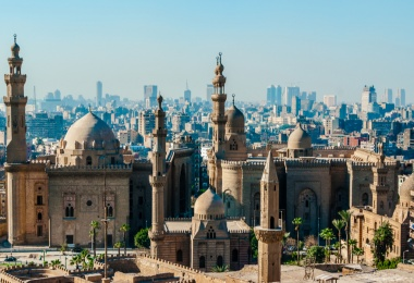 Mosque Madrassa of Sultan Hassan photo, panoramic view from fortress in Cairo - Egypt