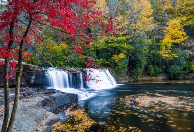 Reasons You Should Visit Asheville, North Carolina in the Fall: Hooker Falls Waterfall North Carolina with Vibrant Fall Colors
